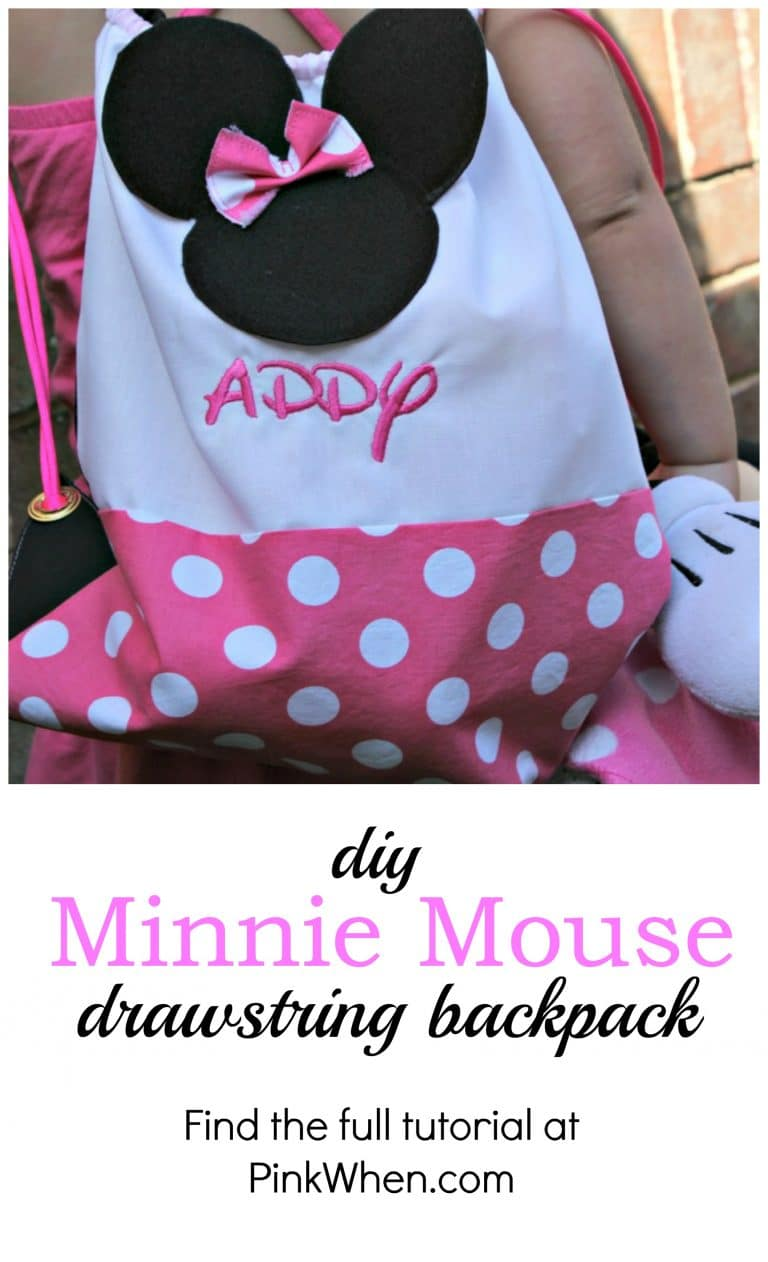 DIY Minnie Mouse Drawstring Backpack