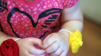Toddler Fabric Flower Bracelets on toddler wrists