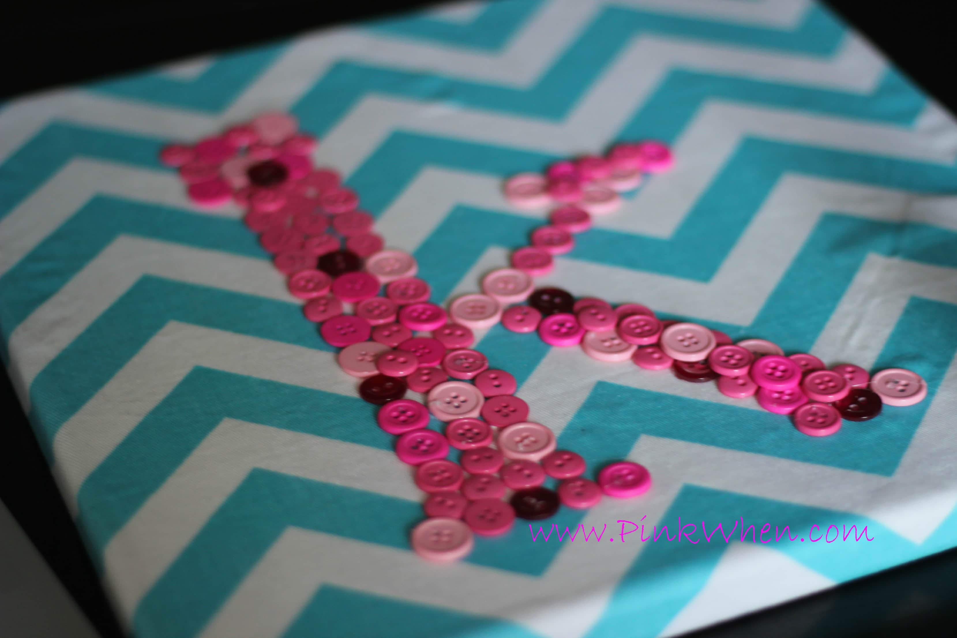 Diy Monogrammed Button Canvas Wall Art Pinkwhen