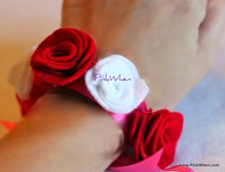 Fabric Flower Bracelet on a hand model