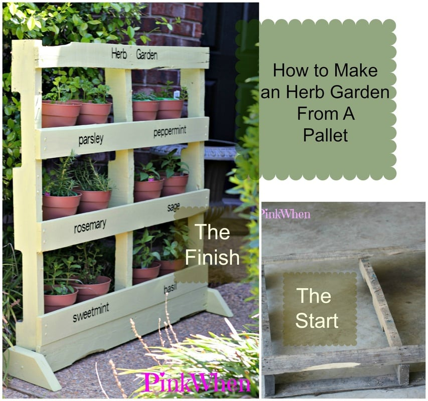 How to make an herb garden from a pallet pinkwhen for Herb pallet