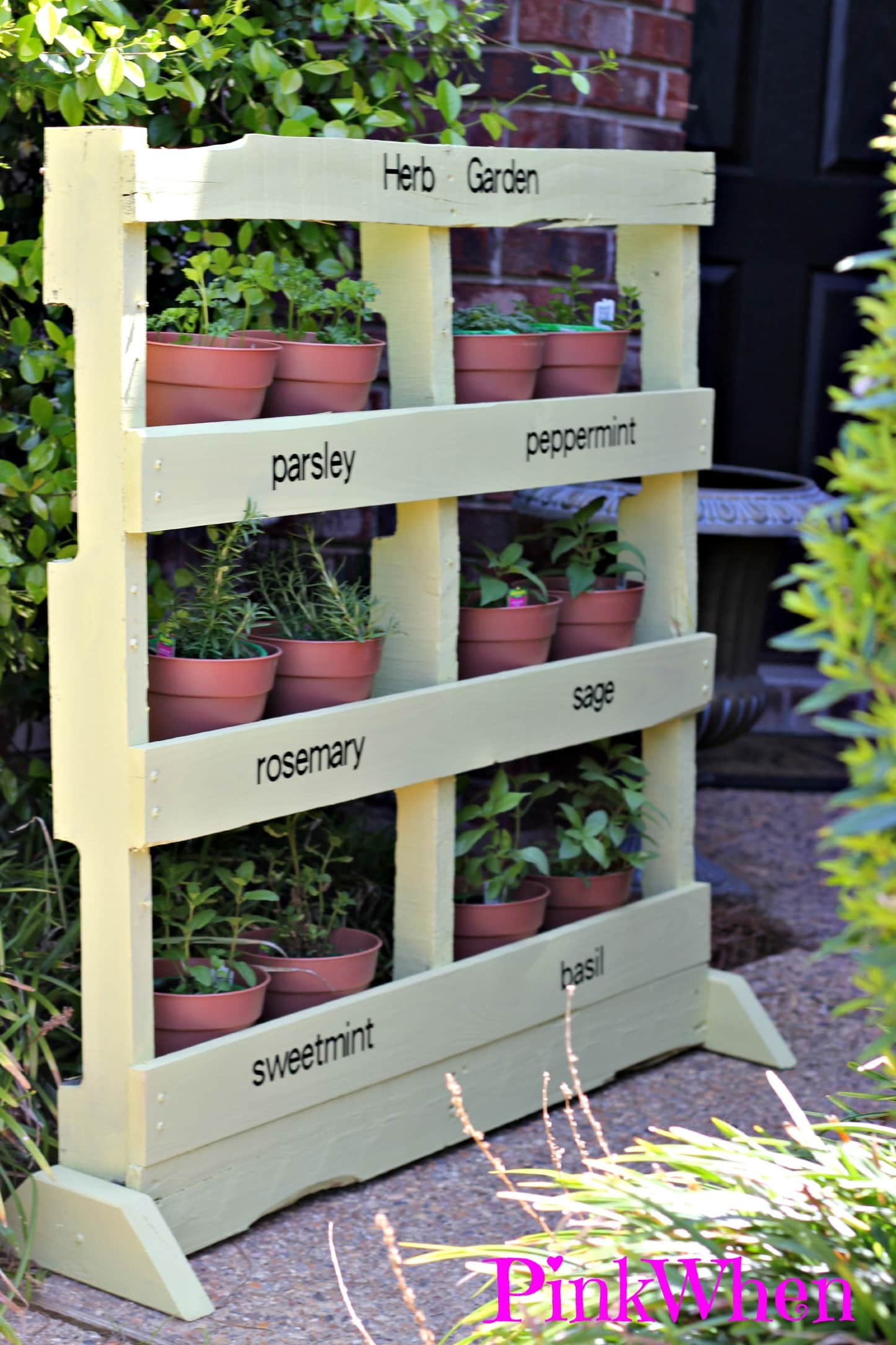 How to Make an Herb Garden from a Pallet PinkWhen