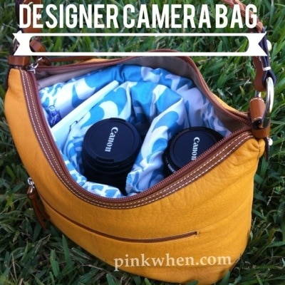 camera bag with insert and lenses
