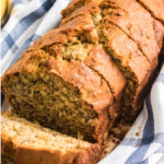 Moist Banana Bread Recipe sliced and ready to serve