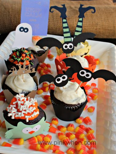 looking for more halloween ideas you can find a free halloween party printable here some super cute halloween trick or treat pails i made using the - Cupcake Decorations For Halloween