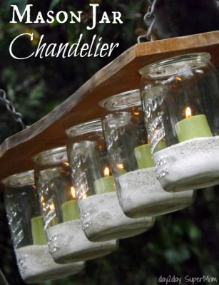 Mason Jar Chandelier from Day2Day SuperMom