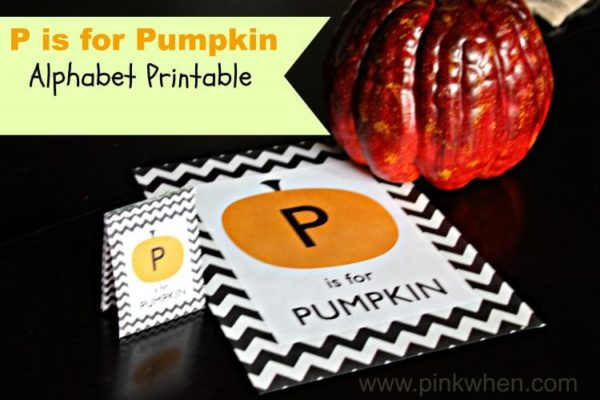 P is for Pumpkin Alphabet Printable at PinkWhen.com