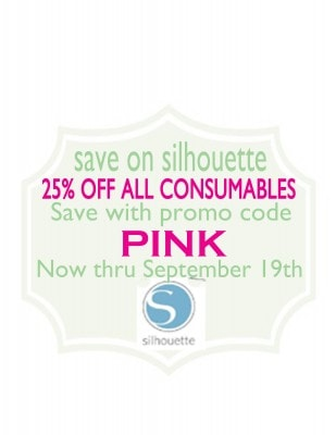 Save on Silhouette Consumables with Promo Code PINK now thru 9/19/13
