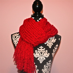 Pretty Red Crocheted Scarf With Loom