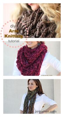 DIY Arm Knitting Infinity Scarf - PinkWhen