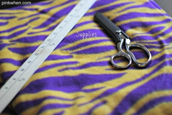 Supplies for DIY Fleece Scarf