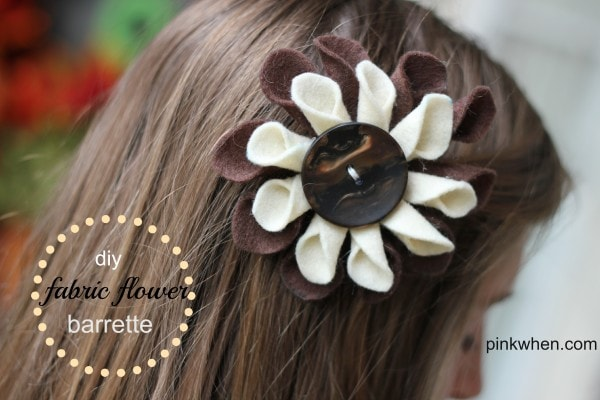 diy fabric flower barrette via pinkwhen.com