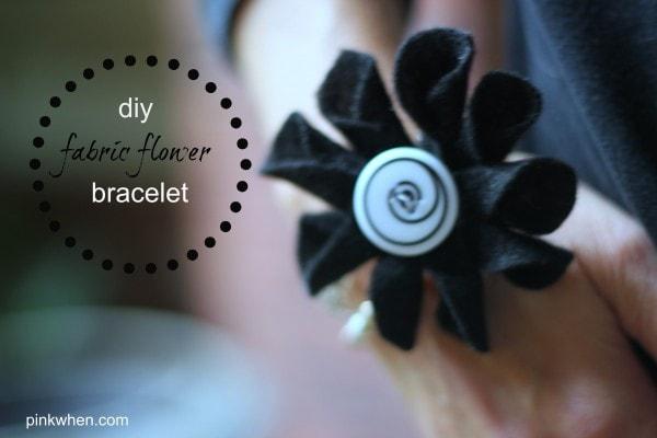diy fabric flower bracelet tutorial via PinkWhen.com