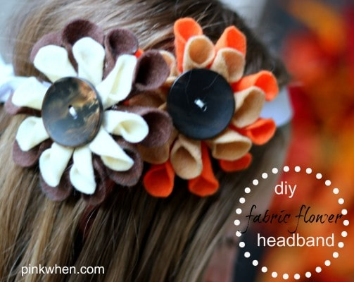 diy fabric flower tutorial via PinkWhen.com