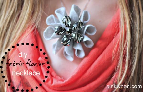 diy fabric flower necklace via PinkWhen.com