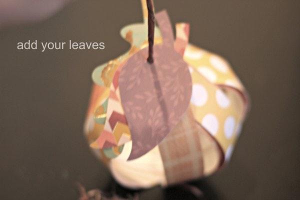 diy paper pumpkin leaves