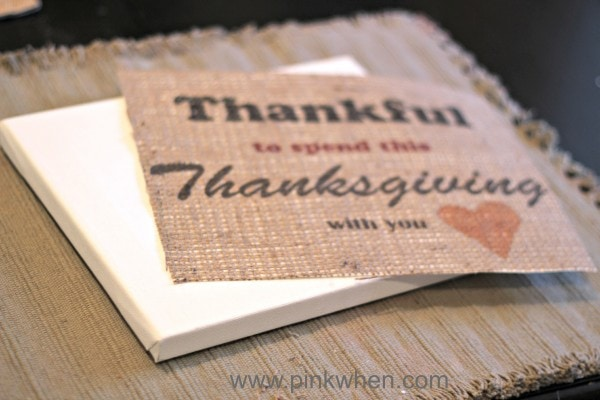 Being Thankful Free Printable and a Print on Burlap Tutorial