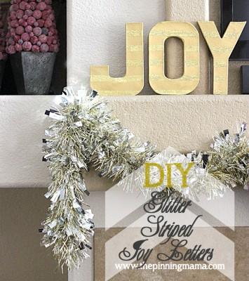 DIY Glitter Striped Joy Letters web