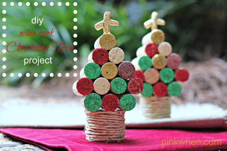 Wine Cork Christmas Tree Craft - PinkWhen