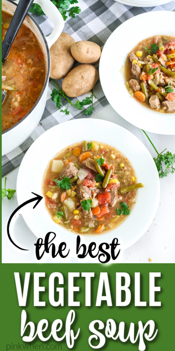 Vegetable Beef Soup is a hearty and delicious filling soup made with boneless beef short ribs, elbow macaroni, and is loaded with vegetables, seasonings, and packed full of mouthwatering flavors. Perfectly served with delicious skillet cornbread.