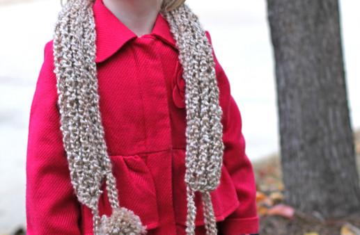 Crochet Scarf with Pom Poms