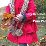 DIY Crochet Scarf with Pom Poms