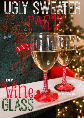 Ugly-Christmas-Sweater-Party-DIY-Wine-Glasses-OhMy-Creative.com_