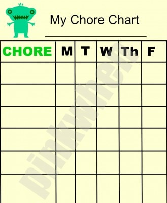 Chore chart (Free Printable Chore Chart without Watermark when downloaded)