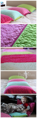 DIY Pillow Bed - Take Pillow Shams, Sew Together, Insert Pillows, and ENJOY! via PinkWhen.com