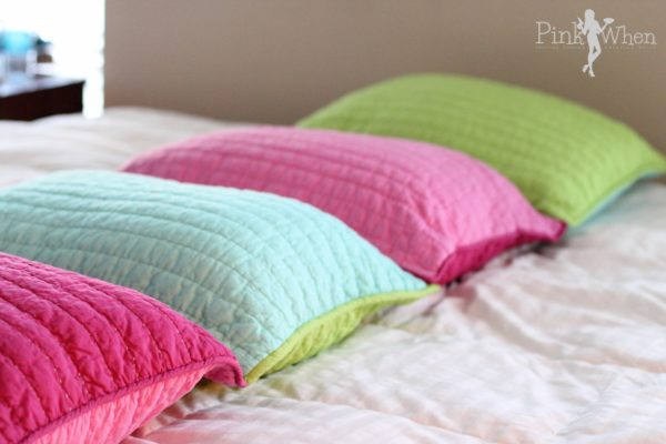 DIY Pillow Bed Using Pillow SHams sewn together via PinkWhen.com
