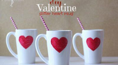 DIY Valentine Glitter Heart Mug