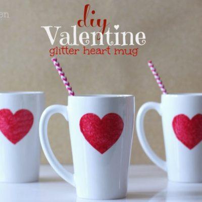 DIY Valentine Glitter Heart Personalized Mug