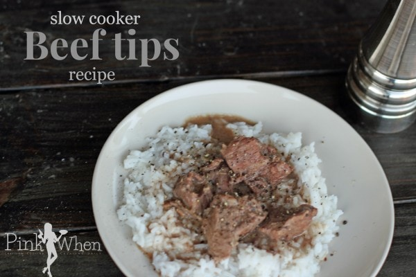 Slow Cooker Beef Tips using only a handfull of ingredients!