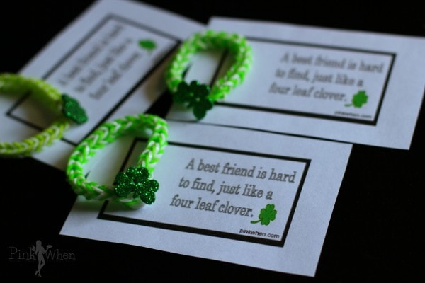 A Rainbow Loom Lucky Charm St. Patrick's Day Bracelet and Free Printable