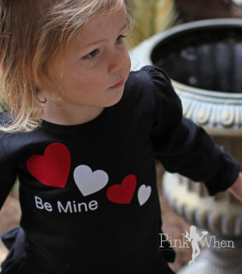 Be Mine Girls Valentine Shirt Using Flocked Heat Transfer for a One Of A Kind Shirt | PinkWhen.com
