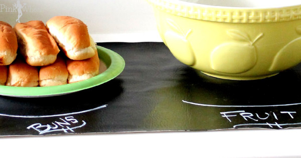 Chalkboard Table Runner {Anthropologie Knock-Off} perfect for Spring and Summer Cookouts!