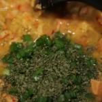 Crawfish Etouffee Adding green onion tops and parsley