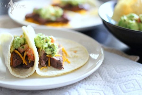Filet Mignon Soft Tacos on a white plate.