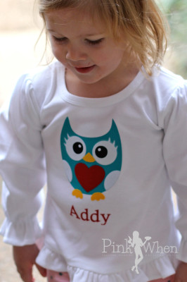 Girls Owl Heart Valentine Shirt Using Layered Heat Transfer, Full tutorial | PinkWhen
