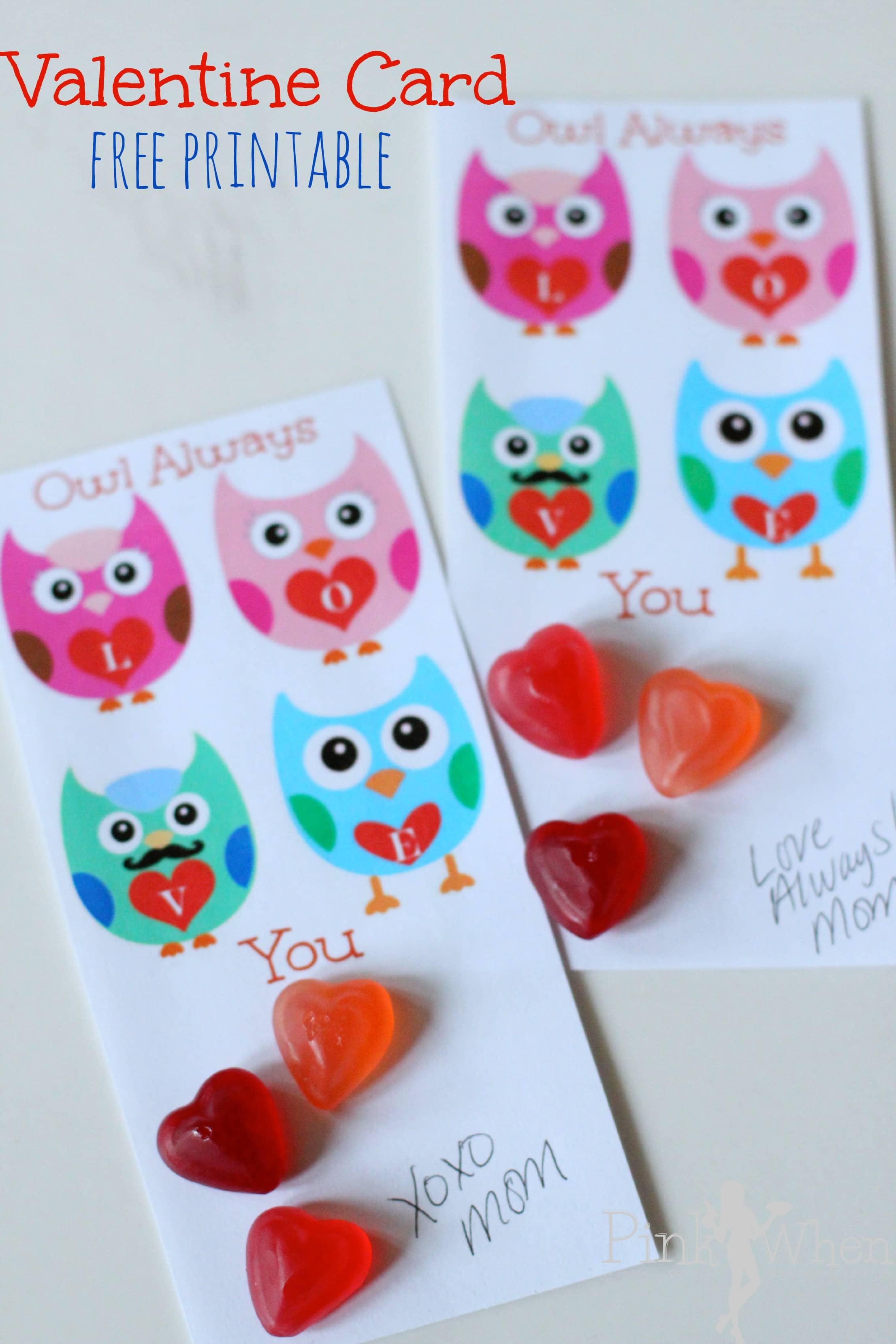 Owl Always Love You Free Printable PinkWhen – Owl Valentine Card