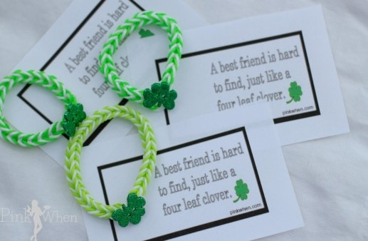 Rainbow Loom Lucky Charm Shamrock Bracelet and Free Printable