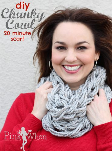 Arm Knitting Diy Chunky Cowl Scarf Pinkwhen