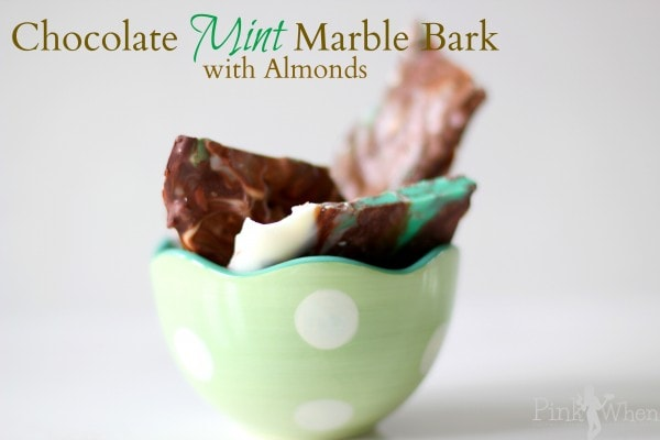 Chocolate Mint Marble Bark With Almonds