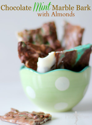 Chocolate Mint Marble Bark with Almonds Recipe via PinkWhen.com