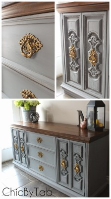 wm collage of vintage dresser with chalk paint and gold handles