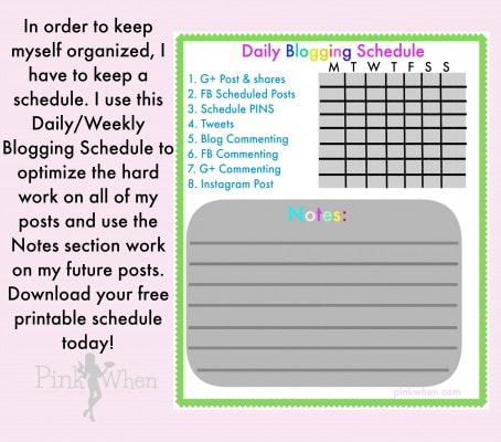 Blogging Schedule Free Printable