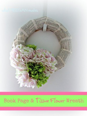 Book Page and Tissue Flower Wreath