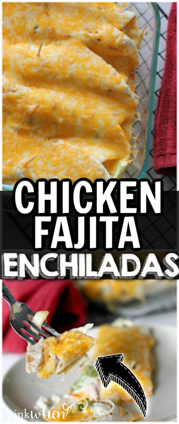Chicken Fajita Enchiladas are a quick and easy 30-minute meal your whole family will enjoy. These easy fajita enchiladas are perfect for game day, a quick weeknight meal, or even Taco Tuesday. #chickenenchiladas #fajitaenchiladas