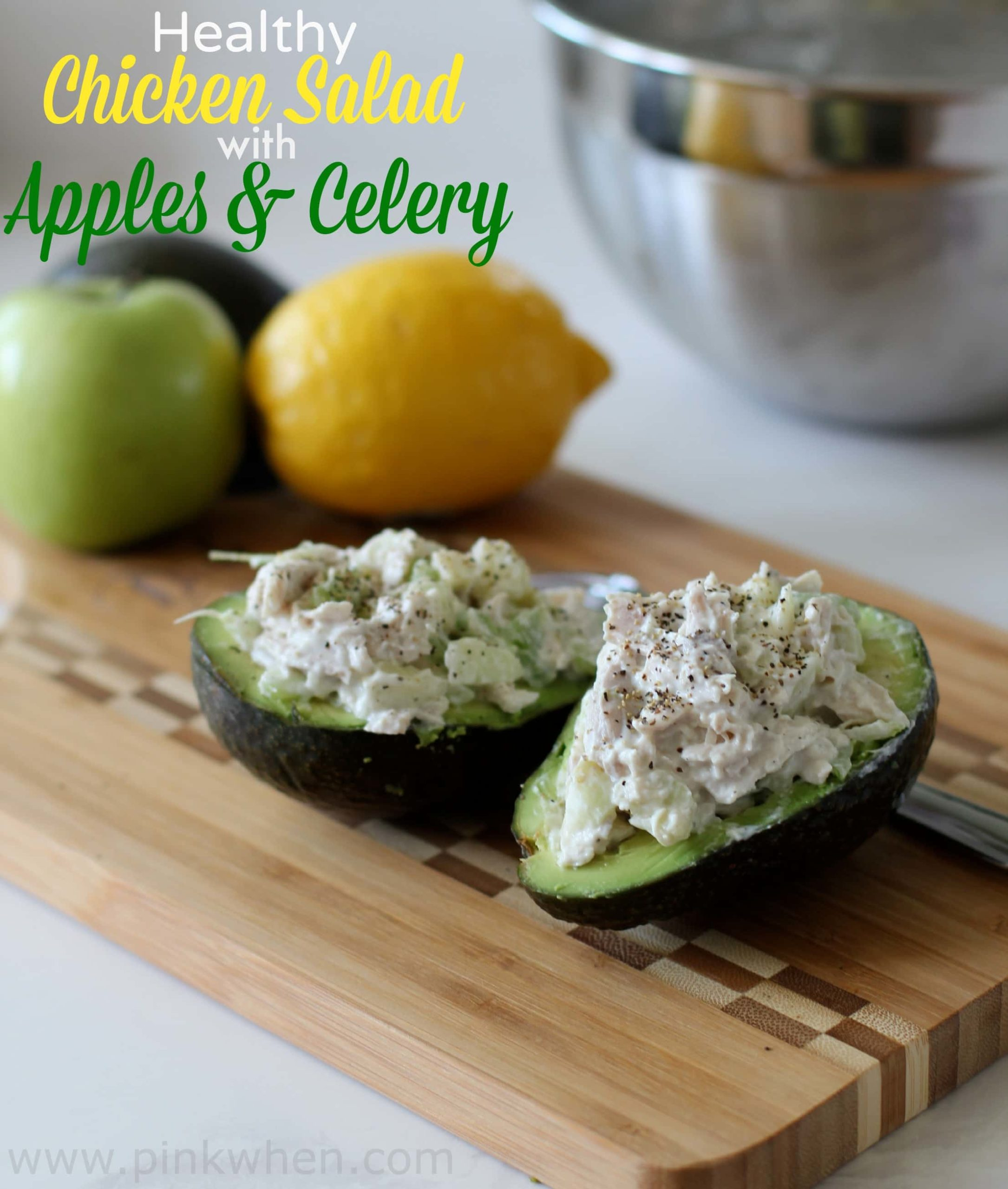 Chicken salad with apples is one of my favorite ways to sweeten and give a standard homemade chicken salad even more of a mouthwatering punch! If you love chicken salad, you will love this healthy chicken salad with apple recipe. #chickensalad #healthychickensalad #chickensaladwithapples