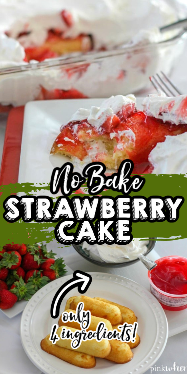 This No Bake Strawberry Cake is one of our favorite summer recipes. With only 4 ingredients, it's the perfect strawberry cake recipe for cookouts and potlucks. Skip the oven and opt for this easy and delicious No Bake Strawberry Cloud Cake recipe.